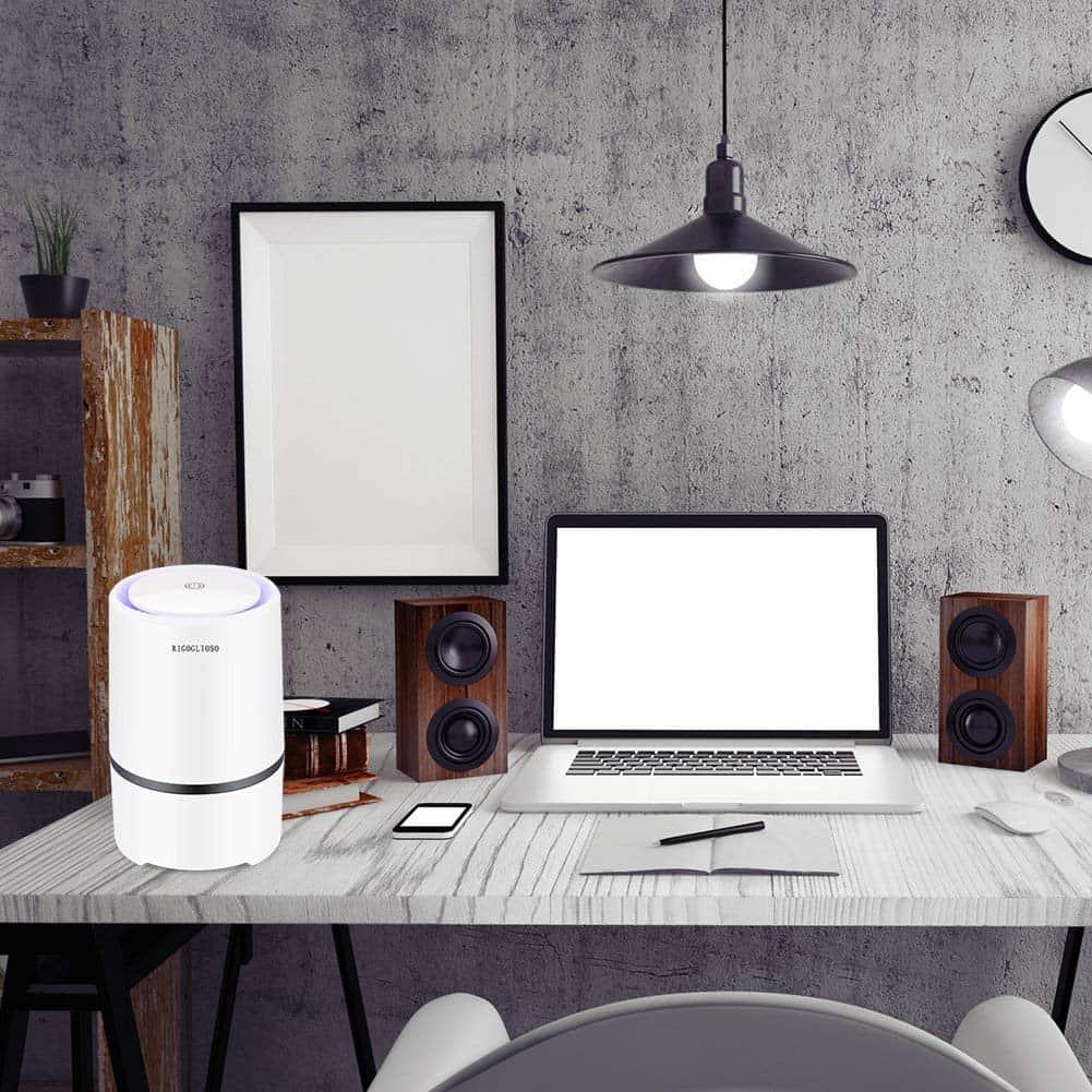 Purificador de aire portátil para el hogar con filtros HEPA verdaderos, limpiador de aire USB de escritorio, ambientador ionizador de aire para humo de cigarrillo, alergias, bacterias [Energy Class A+]