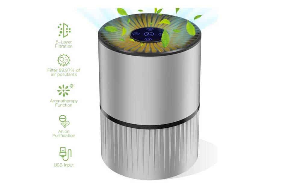 Purificador de aire Mkocean para el hogar con filtro HEPA real Limpiador de aire USB de escritorio de 5 capas y 3 velocidades con función de aromaterapia