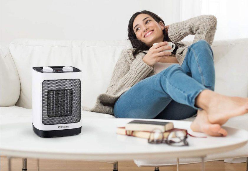 Mini calentador de ventilador de cerámica Pro Breeze® 2000W - Oscilación automática