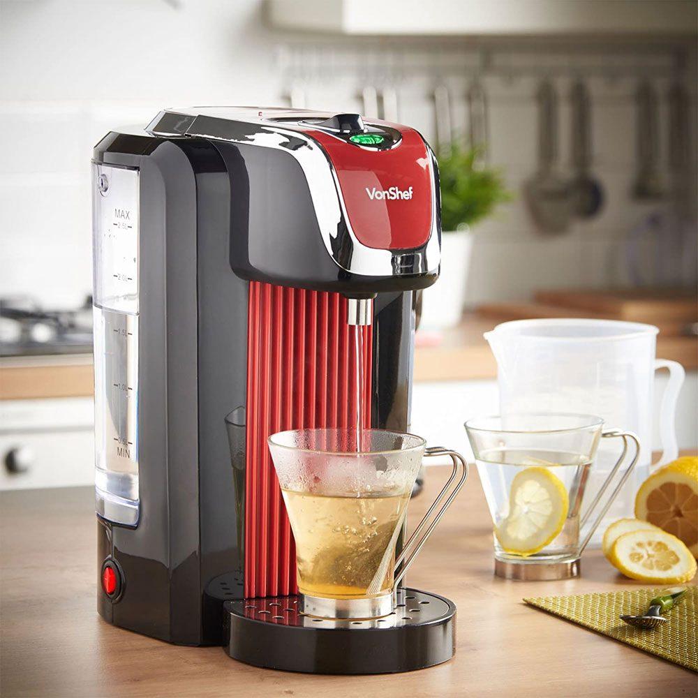 VonShef Hot Water Dispenser Instant Kettle/Catering Urn, Red, 2.5 Litre Capacity