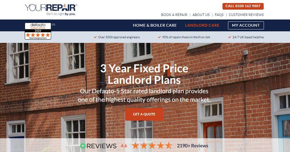 YourRepair Landlord Boiler Cover - Cubierta de avería de emergencia en el hogar