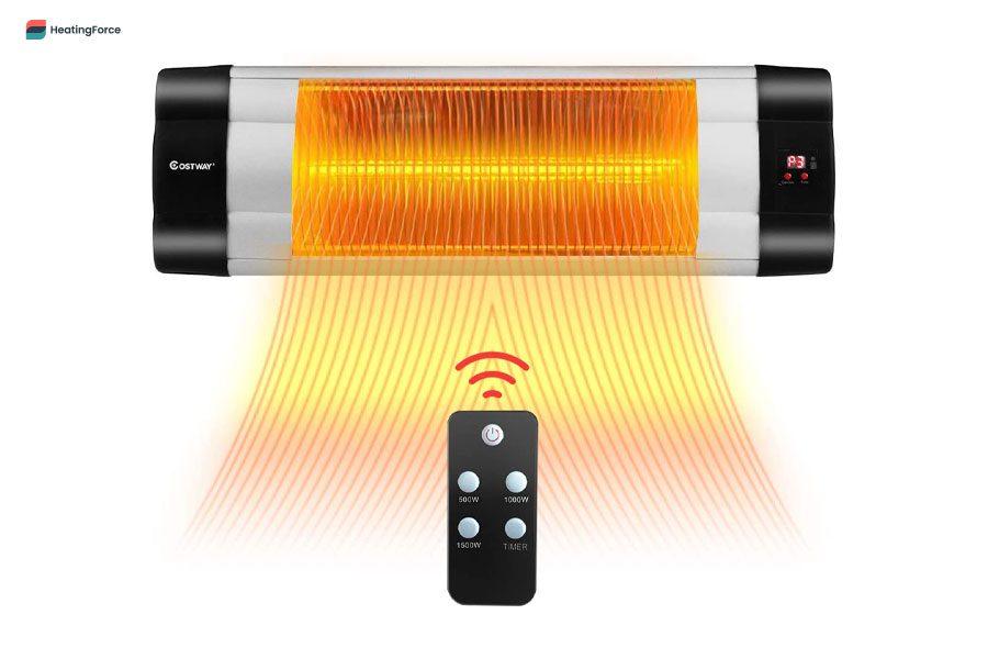 Calentador infrarrojo de pared para patio COSTWAY con control remoto