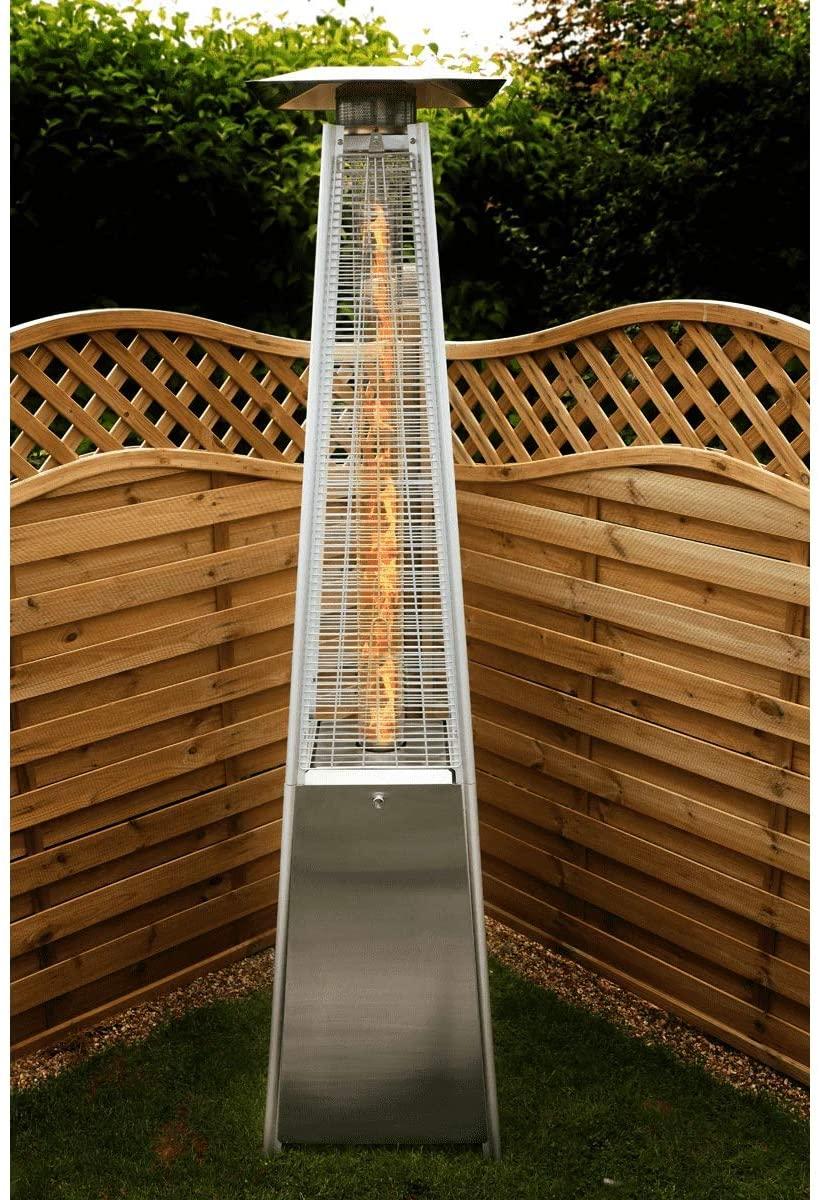 Calentador de patio piramidal de gas propano Dellonda, acero inoxidable de 13 kW
