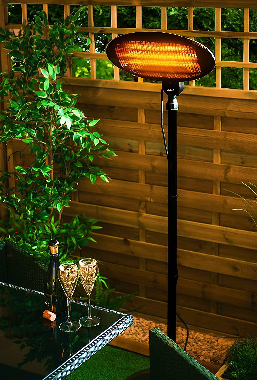 LIVIVO 2KW Calentador de patio de jardín eléctrico de cuarzo independiente para exteriores