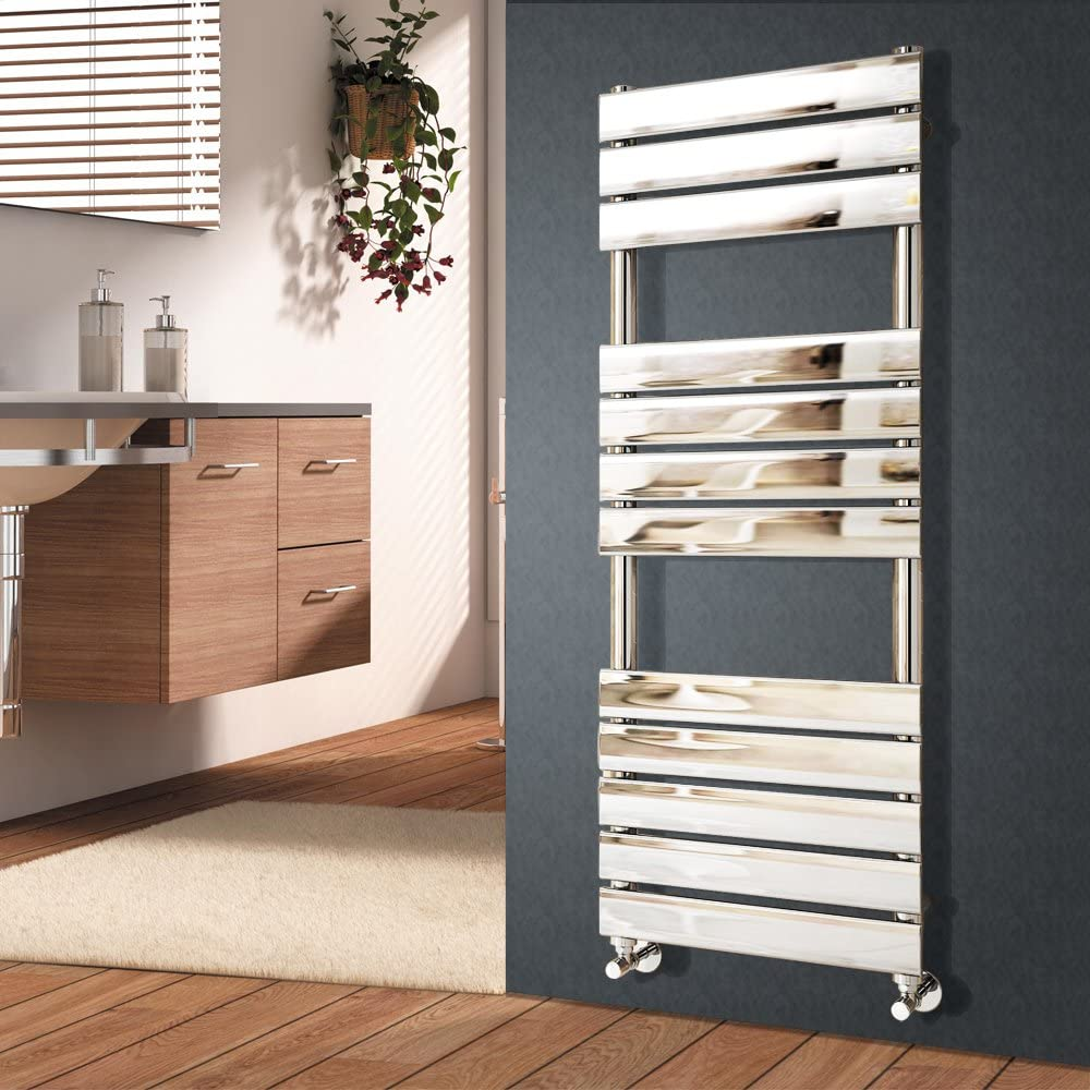 NRG 1200 x 450 mm Radiadores de riel de toalla con calefacción de panel plano de diseñador Radiador de baño cromado
