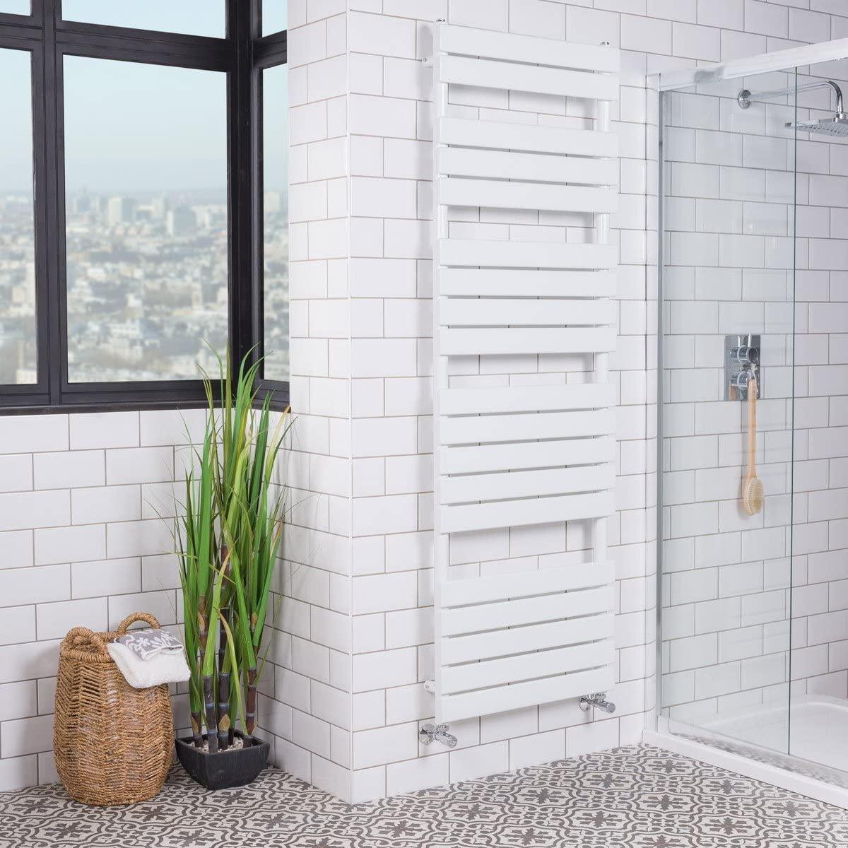 WarmeHaus Designer Minimalista Baño Escalera de radiador con riel de toalla calefaccionado con panel plano