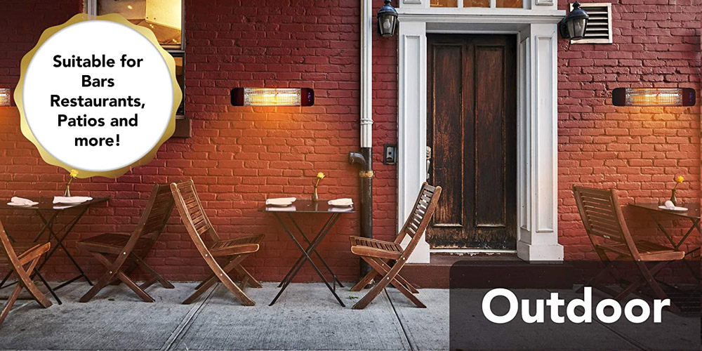 Devola Electric Infrared Patio Heater Wall Mounted Wi-Fi Enabled
