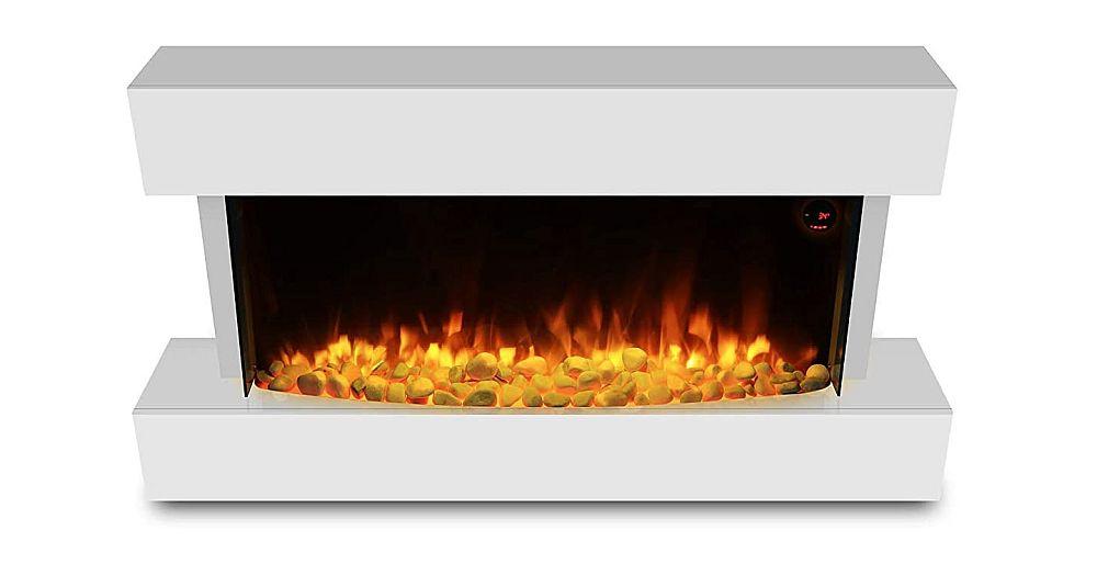 """HomeZone® Modern 50"""" Hola chimenea eléctrica montada en la pared blanca brillante del inserto del fuego"""