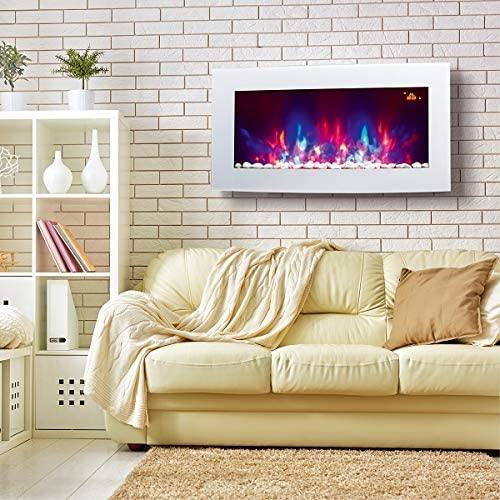 TruFlame 2021 Fuego eléctrico de vidrio blanco arqueado montado en la pared con LED laterales de 7 colores con efecto de guijarro