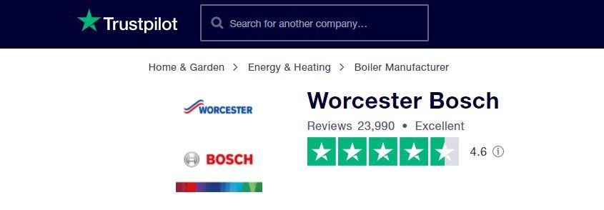 Calderas Worcester Bosch - revisión de Trustpilot